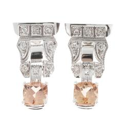 Pink Precious Topaz Diamond Gold Dangle Earrings