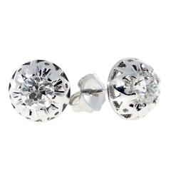 Diamond Platinum Domed Stud Earrings