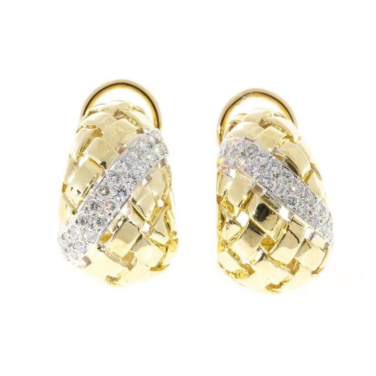 Basket Weave Diamond Gold Earrings