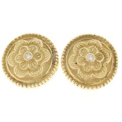 Luro Diamond Green Gold Flower Button Style Earrings