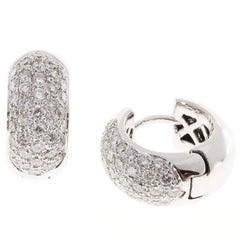 Diamond Pave White Gold Huggie Hoop Earrings