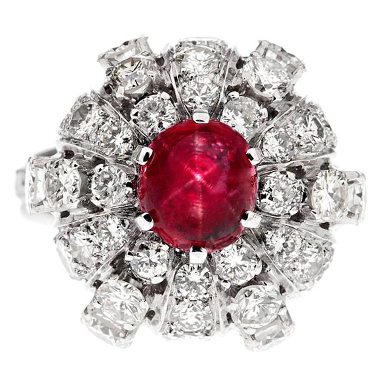 Star Ruby Diamond Stylized Dome Platinum Ring For Sale