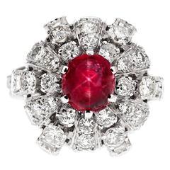 Star Ruby Diamond Stylized Dome Platinum Ring