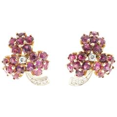 Ruby Diamond Gold Flower Earrings
