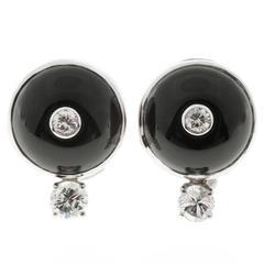 Domed Black Onyx Diamond Clip Post Gold Earrings