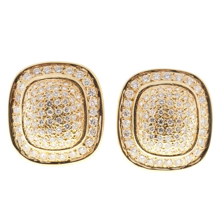 Diamond Gold Cushion Shaped Clip Post Dome Earrings