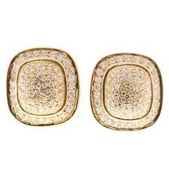 Diamond Gold Cushion Shaped Clip Post Dome Earrings