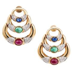 Cabochon Ruby Emerald Sapphire Diamond Gold Hinged Chandelier Crescent Earrings