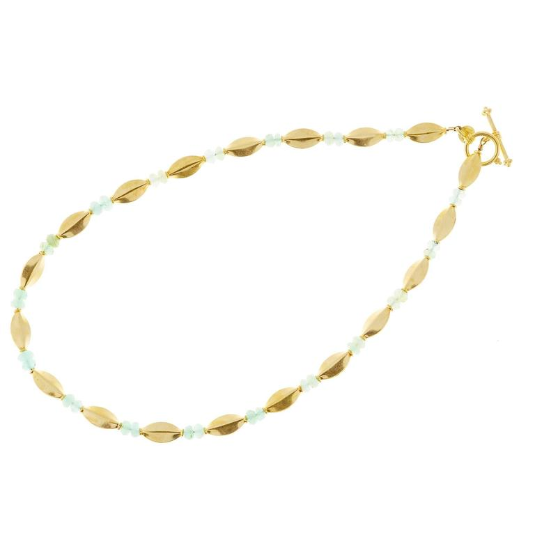 Light Green Faceted Bead Gold Toggle Link Necklace