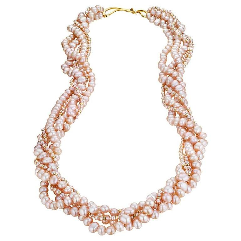 Naomi Sarna Five Strand Pink Pearl Gold Necklace