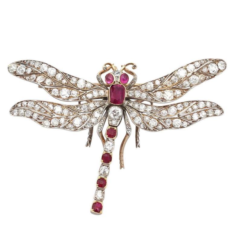 Victorian Ruby Diamond Gold Dragonfly Brooch 1