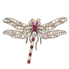 Victorian Ruby Diamond Gold Dragonfly Brooch