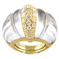 David Webb Rock Crystal Diamond Gold Cocktail Ring