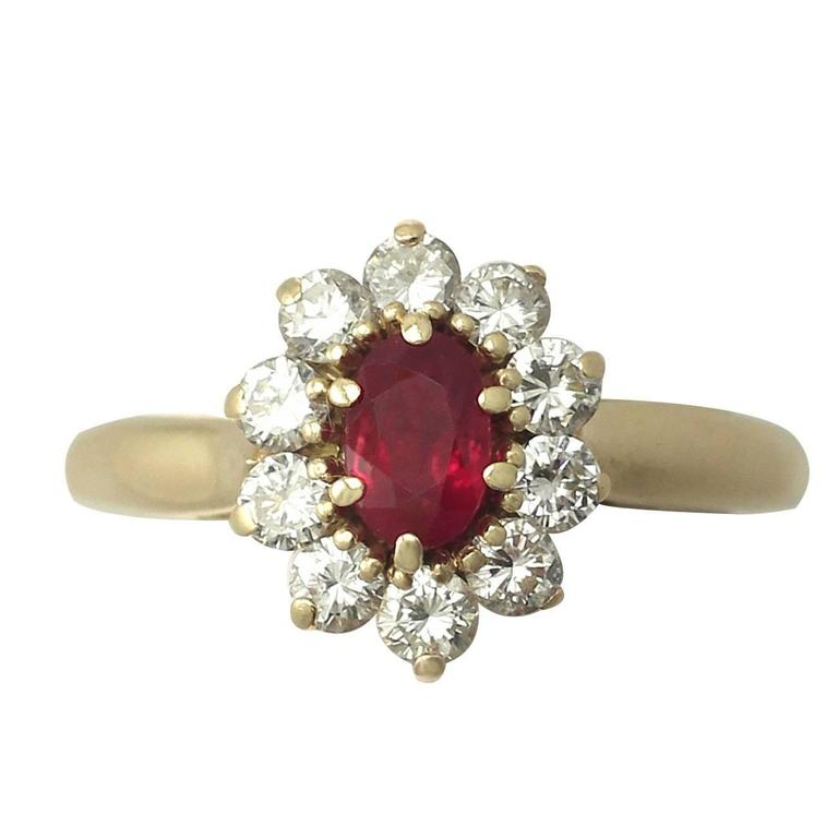 1980s Ruby and Diamond Yellow Gold Cluster Ring