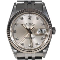Rolex Stainless Steel Diamond Oyster Perpetual Datejust automatic Wristwatch