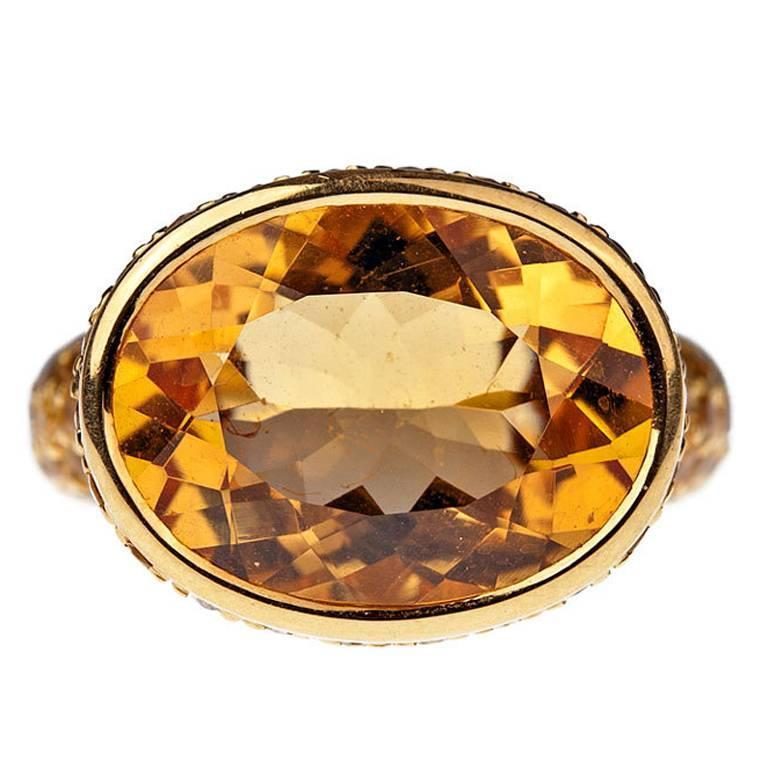 Citrine Sapphire Yellow Gold Ring