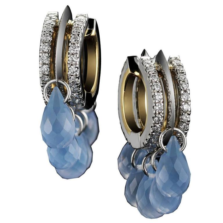Alexandra Mor Lilac Chalcedony Diamond Gold Platinum Hoop Earrings