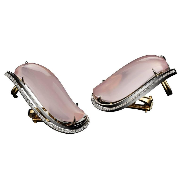 Alexandra Mor Pink Quartz Diamond Platinum Earrings