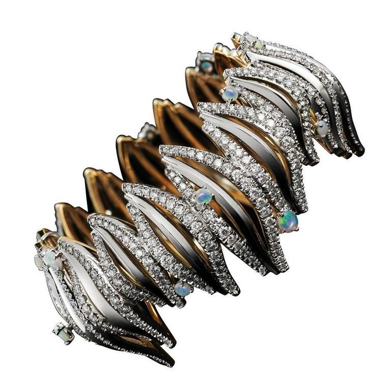 Opal Cabochon Diamond Gold Platinum Curved Cuff Bracelet 1