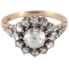 Antique Rose Diamond Silver Gold Cluster Ring