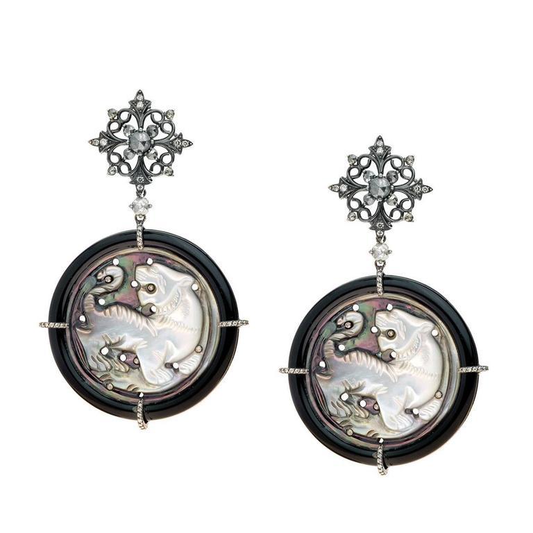 Gold Onyx Diamond Mother of Pearl Ear pendants