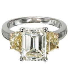 Peter Suchy 3.03 Carat Emerald Cut Diamond Platinum Engagement Ring