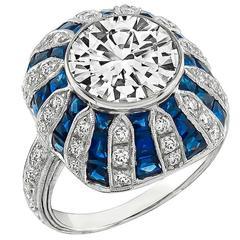 3.13 Carat Diamond Sapphire Gold Engagement Ring