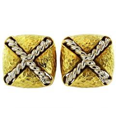 Tiffany & Co. Hammered Finish Gold Clip Earrings