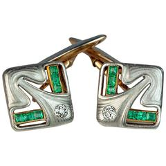Art Nouveau Jugendstil Antique Diamond Emerald Platinum Gold Cufflinks