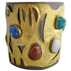 Juan Reyes Copper Brass Natural Gemstone Cuff Bracelet
