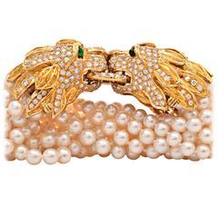 Large Pearl Emerald Diamond Gold Lion Heads Bracelet