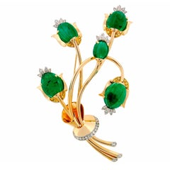 TRABERT & HOEFFER-MAUBOUSSIN Emerald Diamond Gold Brooch Pin Clip