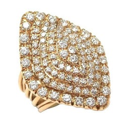 French Diamond Gold Cocktail Ring