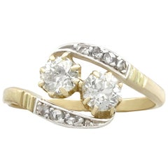 1920s Antique Diamond and Yellow Gold Silver Set Twist Ring