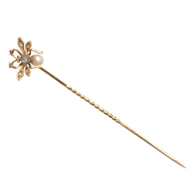 Pearl & 0.17Ct Diamond, 18k Yellow Gold Insect Pin Brooch - Antique Victorian