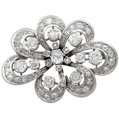 4.50Ct Diamond White Gold Brooch - Antique Edwardian