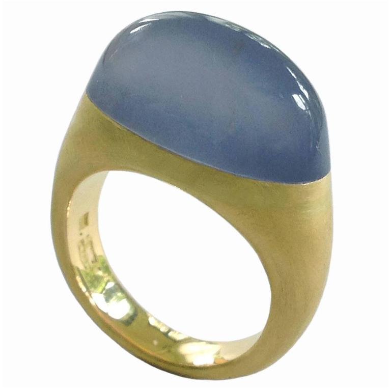 Dalben Namibian Chalcedony Gold Ring
