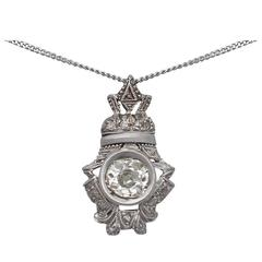 0.84 Carat Diamond and 18 Karat White Gold Pendant, Antique, circa 1900