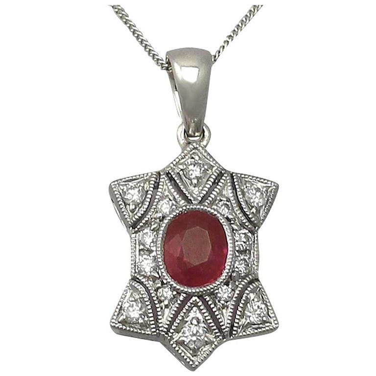 0.78 Ct Ruby and 0.28 Ct Diamond, 18 k White Gold Pendant - Contemporary
