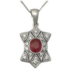 Ruby and Diamond, White Gold Pendant - Contemporary