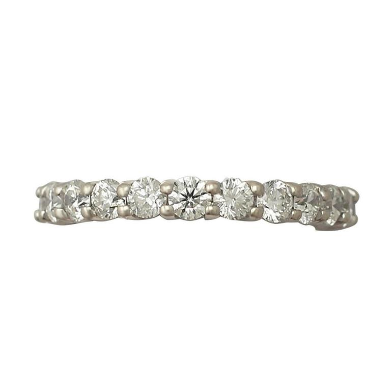 3.38Ct Diamond and 18k White Gold Full Eternity Ring - Vintage Circa 1990 For Sale