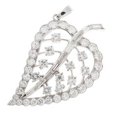 Diamond Platinum Leaf Pendant