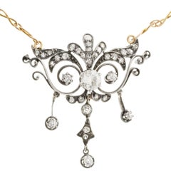 1.17 Carat Diamond Silver Gold Open Work Pendant Necklace