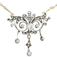 Diamond Silver Gold Open Work Pendant Necklace