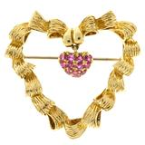 1950s Tiffany & Co. Red Ruby Gold Heart Pin