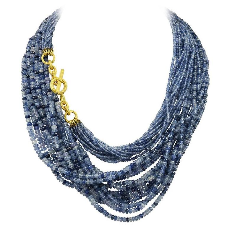 Amazing Virginia Witbeck Natural Sapphire Gold Multistrand Necklace For Sale