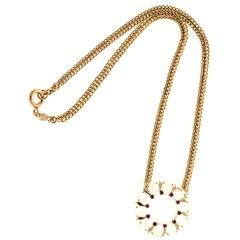 Oval Moonstone Ruby Gold Pendant Necklace