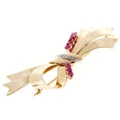 Tiffany & Co. Ruby Diamond Gold Platinum Bow Pin