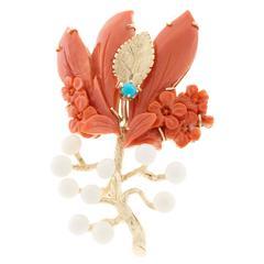 Cellino Orange White Coral Turquoise Gold Flower Pin