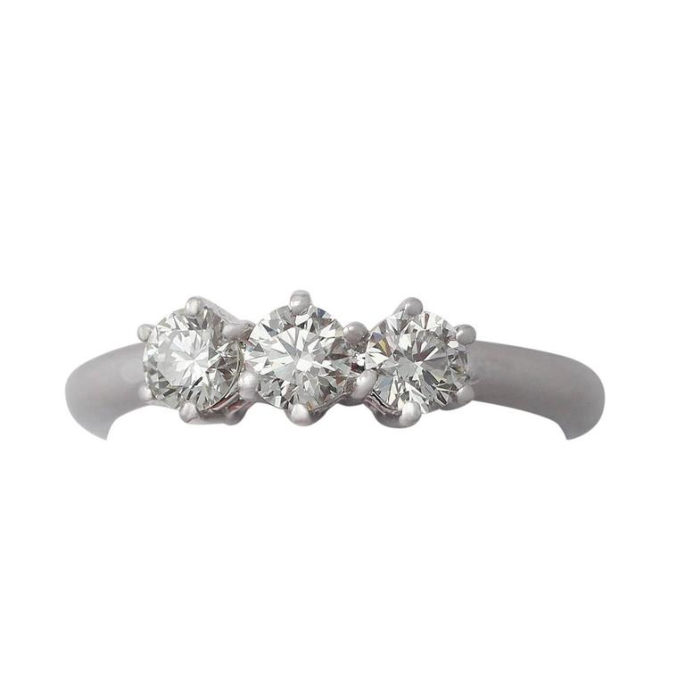 0.84Ct Diamond and 18k White Gold Trilogy Ring - Contemporary Circa 2000